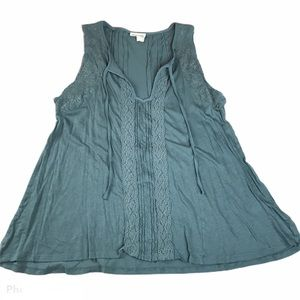 Meadow Rue Sleeveless Blouse Teal Size large